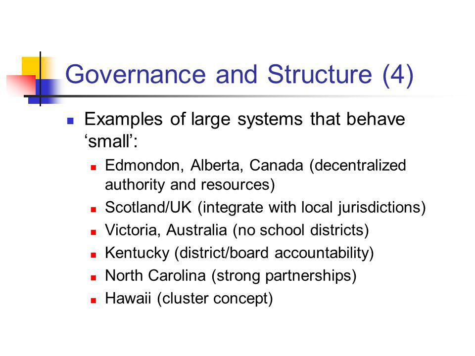Governance and Structure (4) Examples of large systems that behave small: Edmondon, Alberta, Canada (decentralized authority and resources) Scotland/U