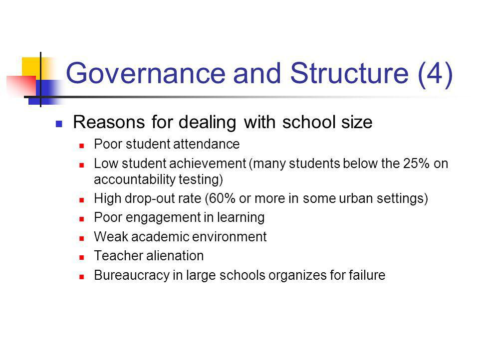 Governance and Structure (4) Reasons for dealing with school size Poor student attendance Low student achievement (many students below the 25% on acco
