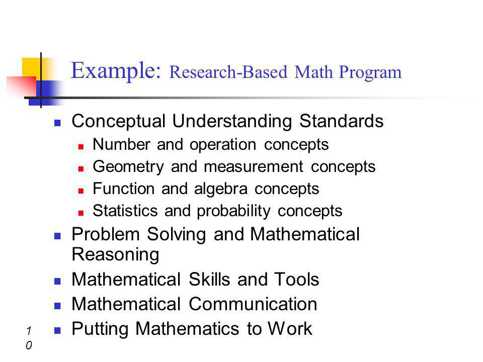 Conceptual Understanding Standards Number and operation concepts Geometry and measurement concepts Function and algebra concepts Statistics and probab