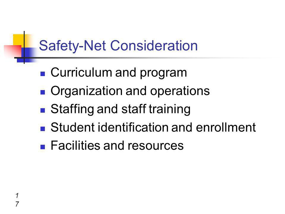 Safety-Net Consideration Curriculum and program Organization and operations Staffing and staff training Student identification and enrollment Faciliti