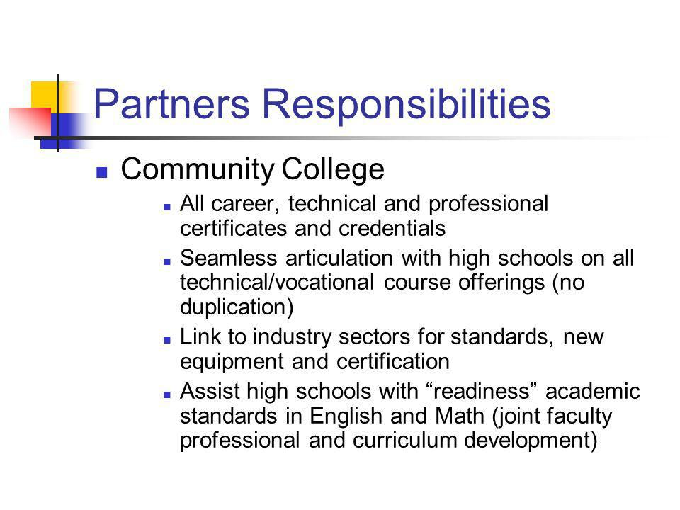 Partners Responsibilities Community College All career, technical and professional certificates and credentials Seamless articulation with high school
