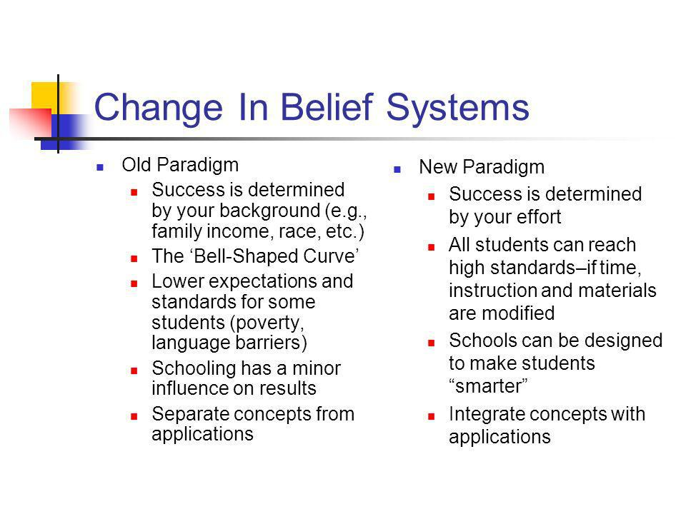 Change In Belief Systems Old Paradigm Success is determined by your background (e.g., family income, race, etc.) The Bell-Shaped Curve Lower expectati