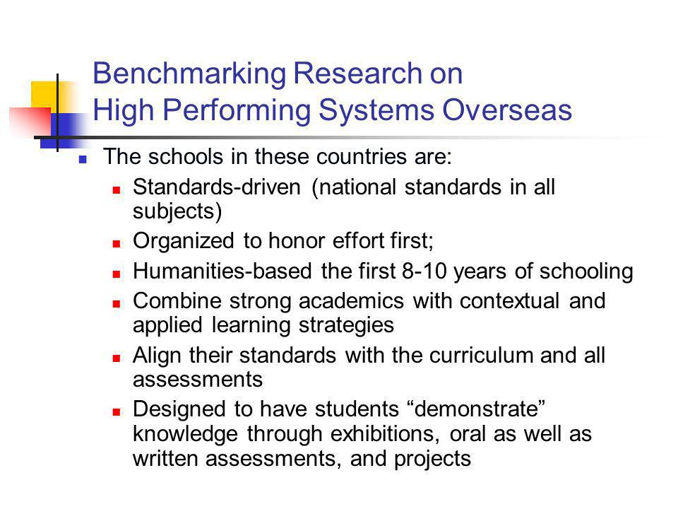 Benchmarking Research on High Performing Systems Overseas The schools in these countries are: Standards-driven (national standards in all subjects) Or