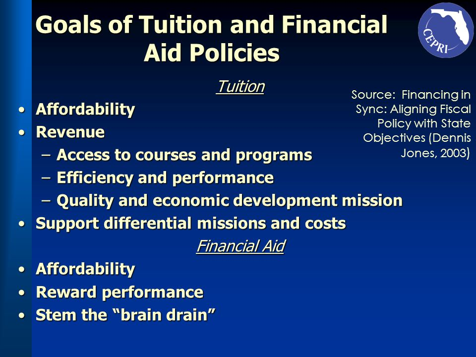 Goals of Tuition and Financial Aid Policies Tuition AffordabilityAffordability RevenueRevenue –Access to courses and programs –Efficiency and performa