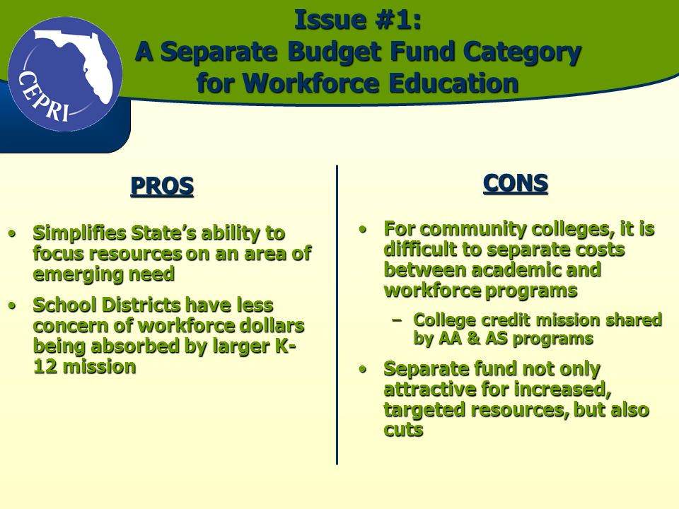 Issue #1: A Separate Budget Fund Category for Workforce Education PROS Simplifies States ability to focus resources on an area of emerging needSimplifies States ability to focus resources on an area of emerging need School Districts have less concern of workforce dollars being absorbed by larger K- 12 missionSchool Districts have less concern of workforce dollars being absorbed by larger K- 12 missionCONS For community colleges, it is difficult to separate costs between academic and workforce programsFor community colleges, it is difficult to separate costs between academic and workforce programs –College credit mission shared by AA & AS programs Separate fund not only attractive for increased, targeted resources, but also cutsSeparate fund not only attractive for increased, targeted resources, but also cuts