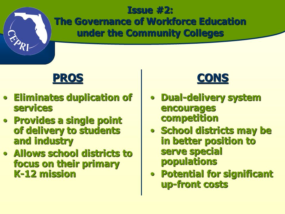 Issue #2: The Governance of Workforce Education under the Community Colleges PROS Eliminates duplication of servicesEliminates duplication of services Provides a single point of delivery to students and industryProvides a single point of delivery to students and industry Allows school districts to focus on their primary K-12 missionAllows school districts to focus on their primary K-12 missionCONS Dual-delivery system encourages competitionDual-delivery system encourages competition School districts may be in better position to serve special populationsSchool districts may be in better position to serve special populations Potential for significant up-front costsPotential for significant up-front costs