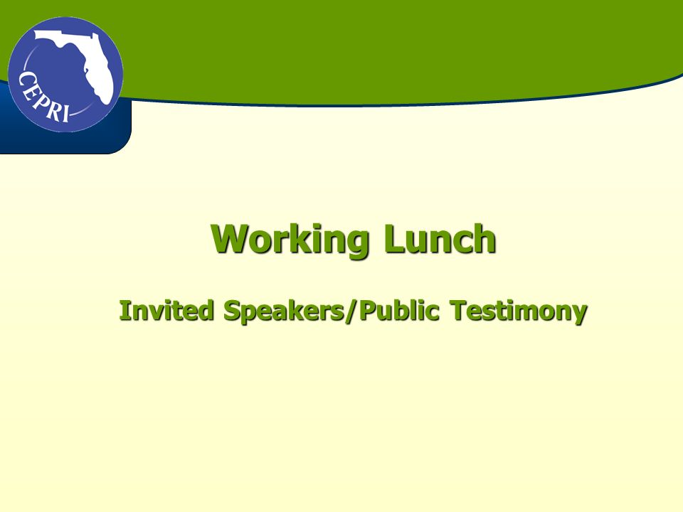 Working Lunch Invited Speakers/Public Testimony