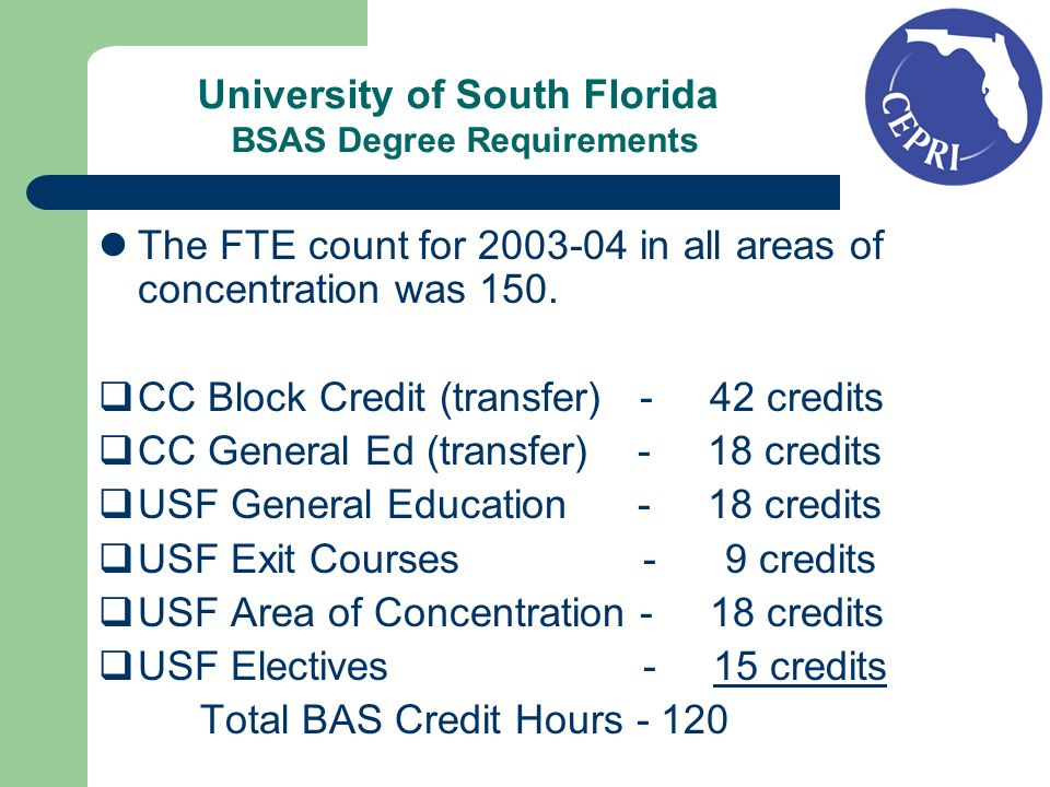 University of South Florida BSAS Degree Requirements The FTE count for 2003-04 in all areas of concentration was 150. CC Block Credit (transfer) - 42