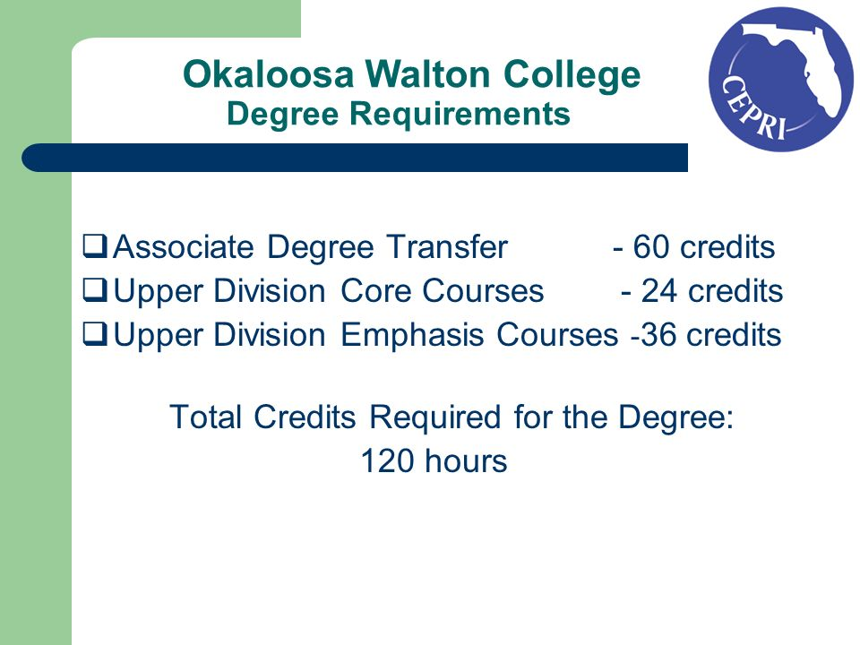 Okaloosa Walton College Degree Requirements Associate Degree Transfer - 60 credits Upper Division Core Courses - 24 credits Upper Division Emphasis Courses - 36 credits Total Credits Required for the Degree: 120 hours