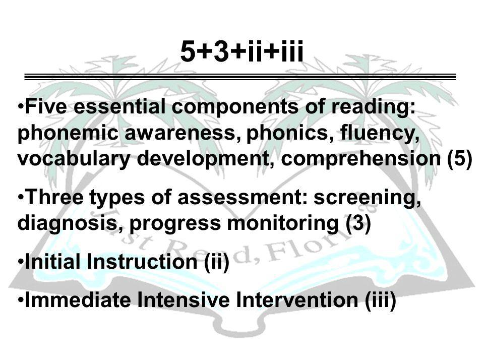 5+3+ii+iii Five essential components of reading: phonemic awareness, phonics, fluency, vocabulary development, comprehension (5) Three types of assess