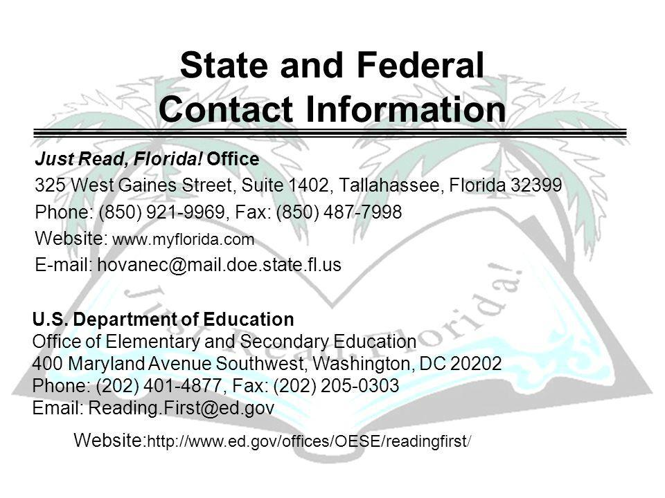 State and Federal Contact Information Just Read, Florida.