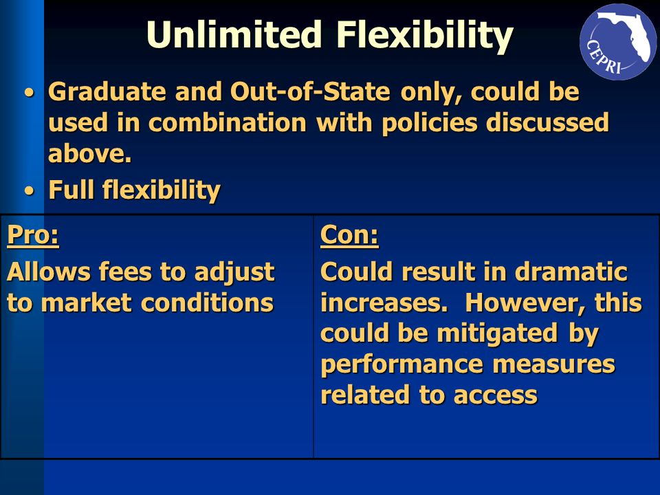 Unlimited Flexibility Graduate and Out-of-State only, could be used in combination with policies discussed above.Graduate and Out-of-State only, could be used in combination with policies discussed above.