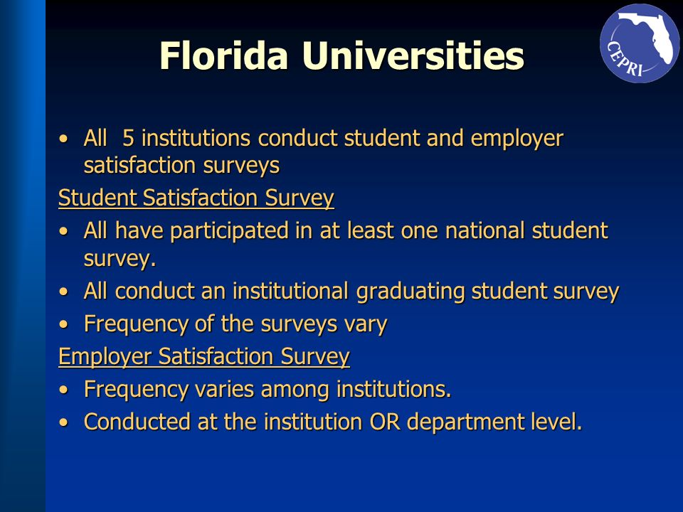 Florida Universities All 5 institutions conduct student and employer satisfaction surveysAll 5 institutions conduct student and employer satisfaction surveys Student Satisfaction Survey All have participated in at least one national student survey.All have participated in at least one national student survey.