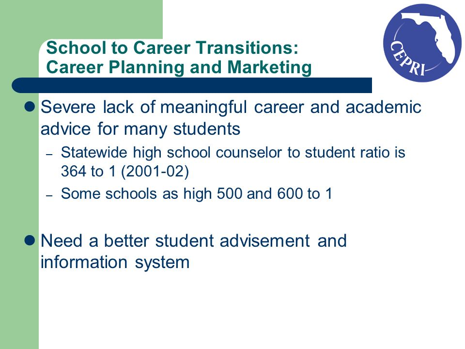 School to Career Transitions: Career Planning and Marketing Severe lack of meaningful career and academic advice for many students – Statewide high school counselor to student ratio is 364 to 1 (2001-02) – Some schools as high 500 and 600 to 1 Need a better student advisement and information system