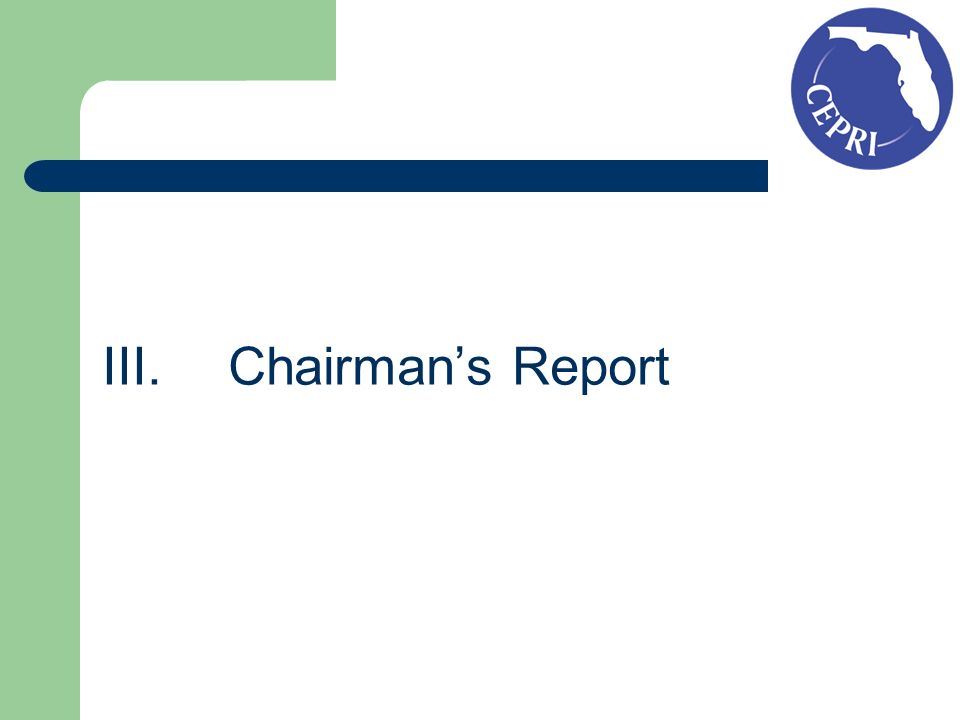 III. Chairmans Report