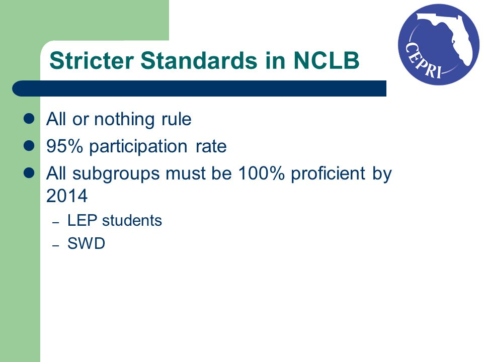 Stricter Standards in NCLB All or nothing rule 95% participation rate All subgroups must be 100% proficient by 2014 – LEP students – SWD