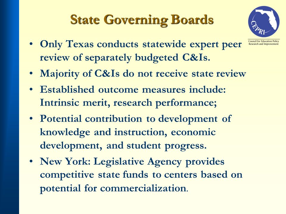 State Governing Boards Only Texas conducts statewide expert peer review of separately budgeted C&Is. Majority of C&Is do not receive state review Esta