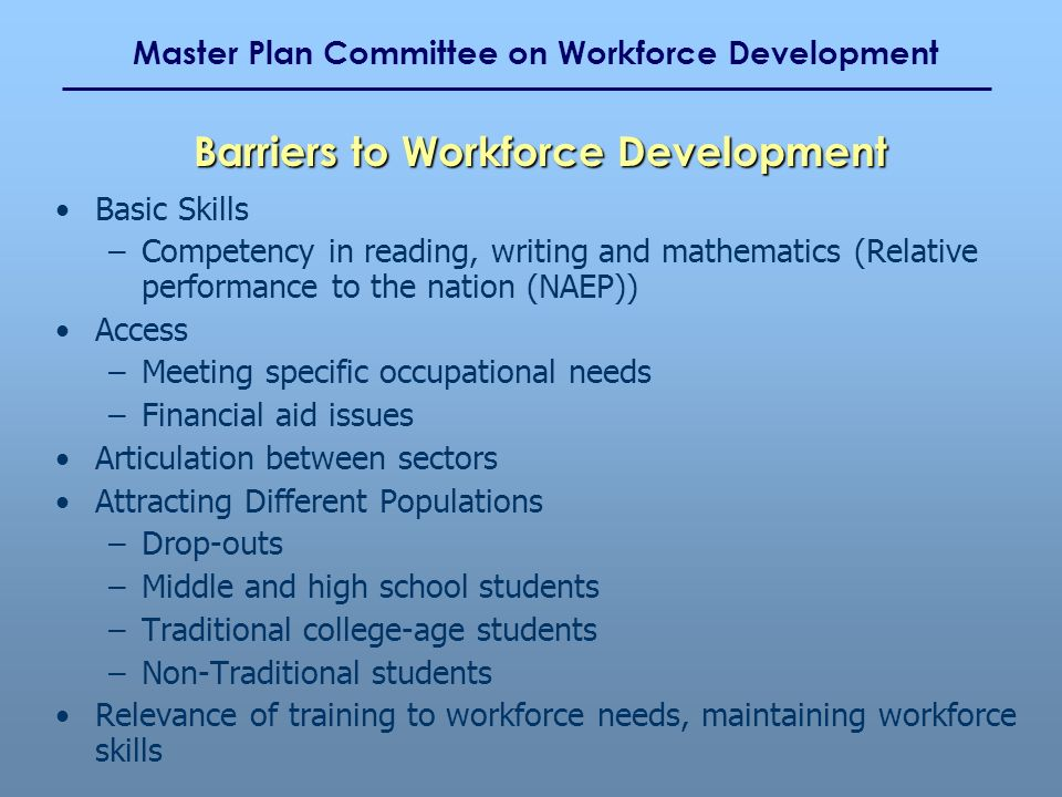 Master Plan Committee on Workforce Development Basic Skills –Competency in reading, writing and mathematics (Relative performance to the nation (NAEP)) Access –Meeting specific occupational needs –Financial aid issues Articulation between sectors Attracting Different Populations –Drop-outs –Middle and high school students –Traditional college-age students –Non-Traditional students Relevance of training to workforce needs, maintaining workforce skills Barriers to Workforce Development