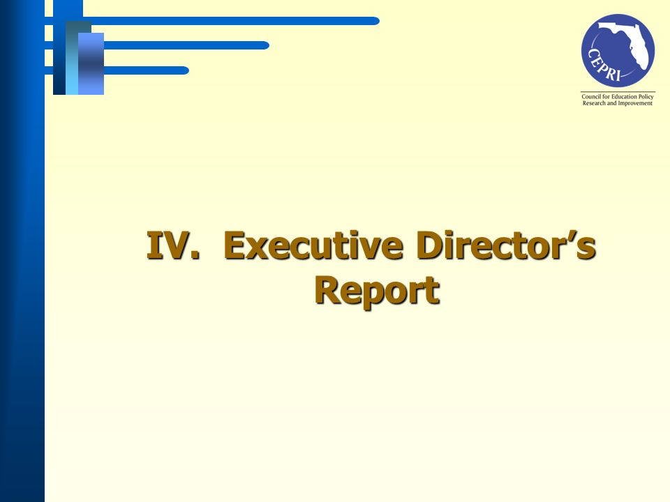 IV. Executive Directors Report