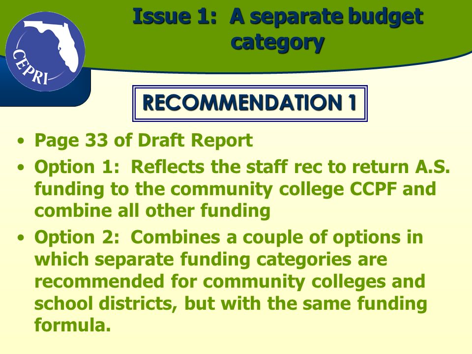 Issue 1: A separate budget category Page 33 of Draft Report Option 1: Reflects the staff rec to return A.S. funding to the community college CCPF and