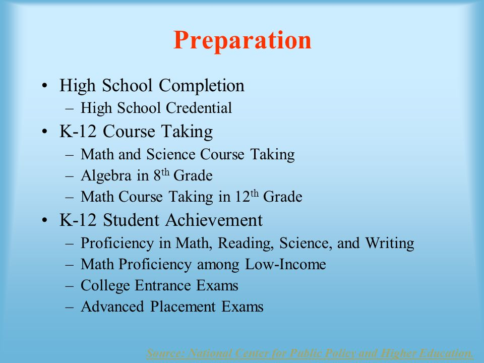 Preparation Source: National Center for Public Policy and Higher Education.