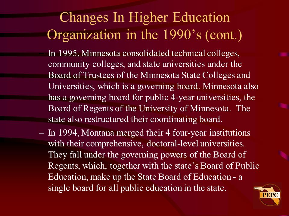 Changes In Higher Education Organization in the 1990s (cont.) –In 1995, Minnesota consolidated technical colleges, community colleges, and state unive
