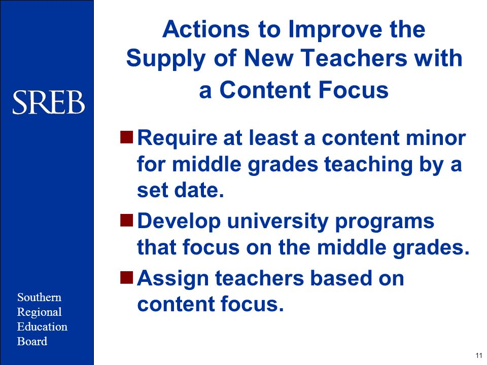 11 Actions to Improve the Supply of New Teachers with a Content Focus Require at least a content minor for middle grades teaching by a set date. Devel