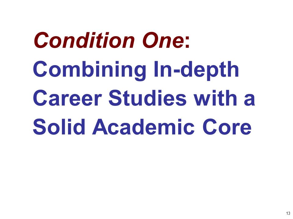 13 Condition One: Combining In-depth Career Studies with a Solid Academic Core