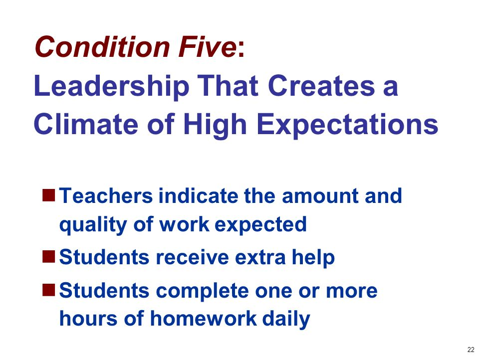 22 Condition Five: Leadership That Creates a Climate of High Expectations Teachers indicate the amount and quality of work expected Students receive extra help Students complete one or more hours of homework daily