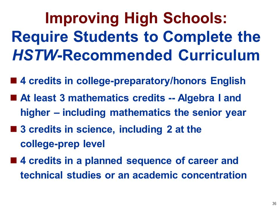 36 Improving High Schools: Require Students to Complete the HSTW-Recommended Curriculum 4 credits in college-preparatory/honors English At least 3 mat