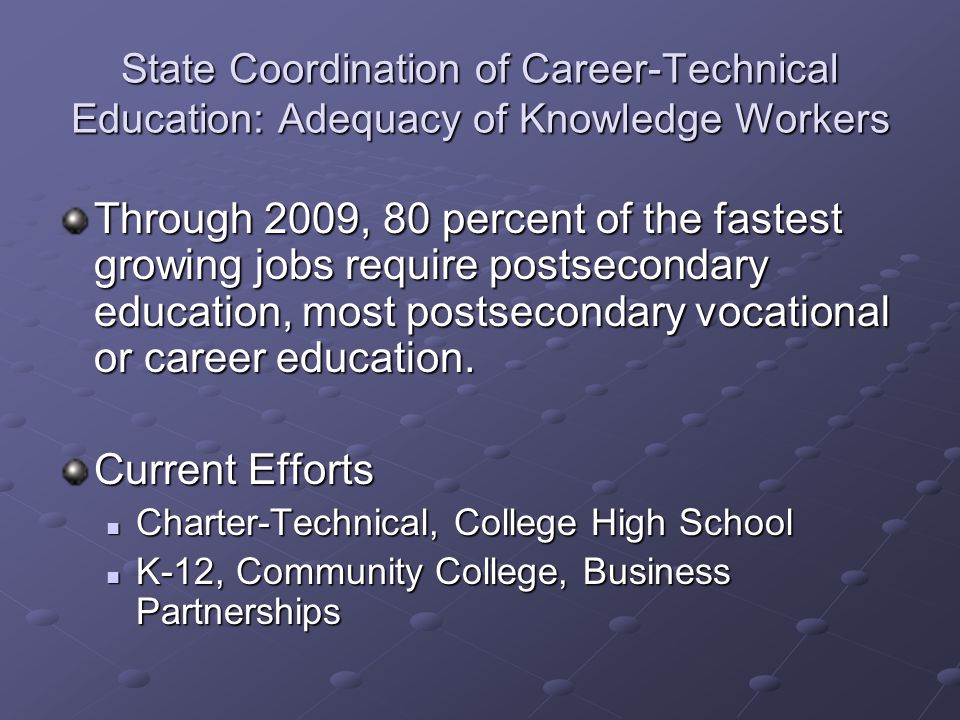 State Coordination of Career-Technical Education: Adequacy of Knowledge Workers Through 2009, 80 percent of the fastest growing jobs require postsecon