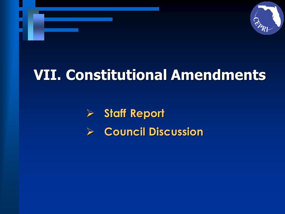 VII. Constitutional Amendments Staff Report Staff Report Council Discussion Council Discussion