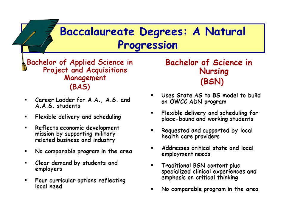 Baccalaureate Degrees: A Natural Progression Bachelor of Applied Science in Project and Acquisitions Management (BAS) Career Ladder for A.A., A.S. and