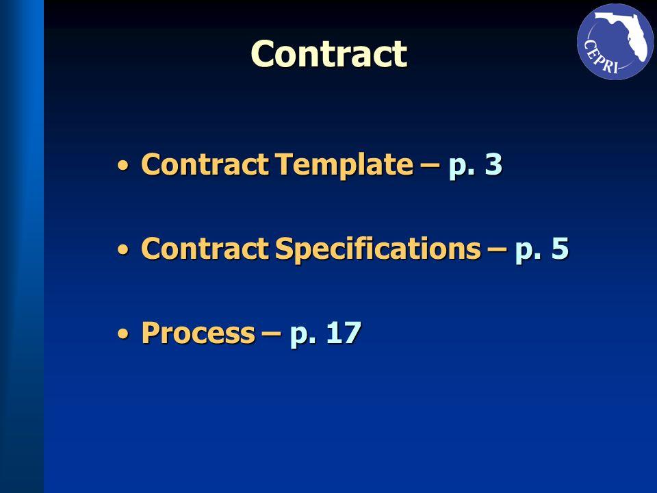 Contract Contract Template – p. 3Contract Template – p. 3 Contract Specifications – p. 5Contract Specifications – p. 5 Process – p. 17Process – p. 17