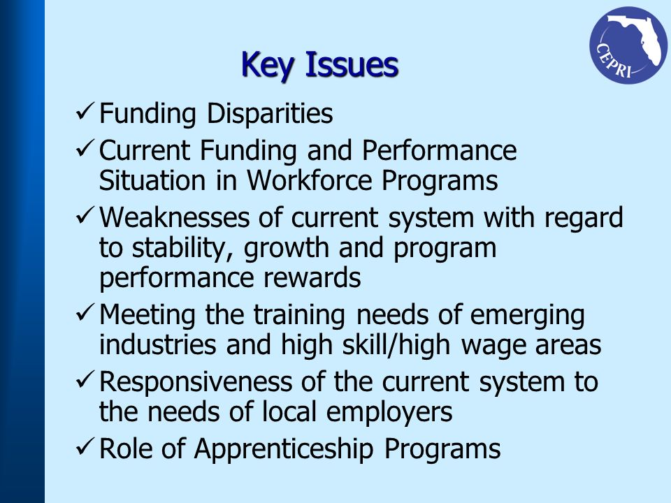 Key Issues Funding Disparities Current Funding and Performance Situation in Workforce Programs Weaknesses of current system with regard to stability, growth and program performance rewards Meeting the training needs of emerging industries and high skill/high wage areas Responsiveness of the current system to the needs of local employers Role of Apprenticeship Programs