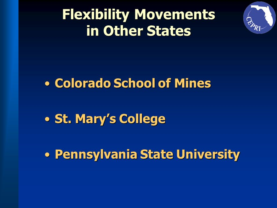 Flexibility Movements in Other States Colorado School of MinesColorado School of Mines St. Marys CollegeSt. Marys College Pennsylvania State Universit