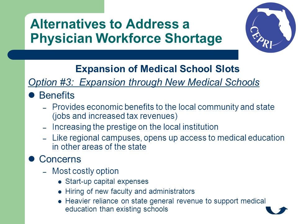 Alternatives to Address a Physician Workforce Shortage Expansion of Medical School Slots Option #3: Expansion through New Medical Schools Benefits – Provides economic benefits to the local community and state (jobs and increased tax revenues) – Increasing the prestige on the local institution – Like regional campuses, opens up access to medical education in other areas of the state Concerns – Most costly option Start-up capital expenses Hiring of new faculty and administrators Heavier reliance on state general revenue to support medical education than existing schools