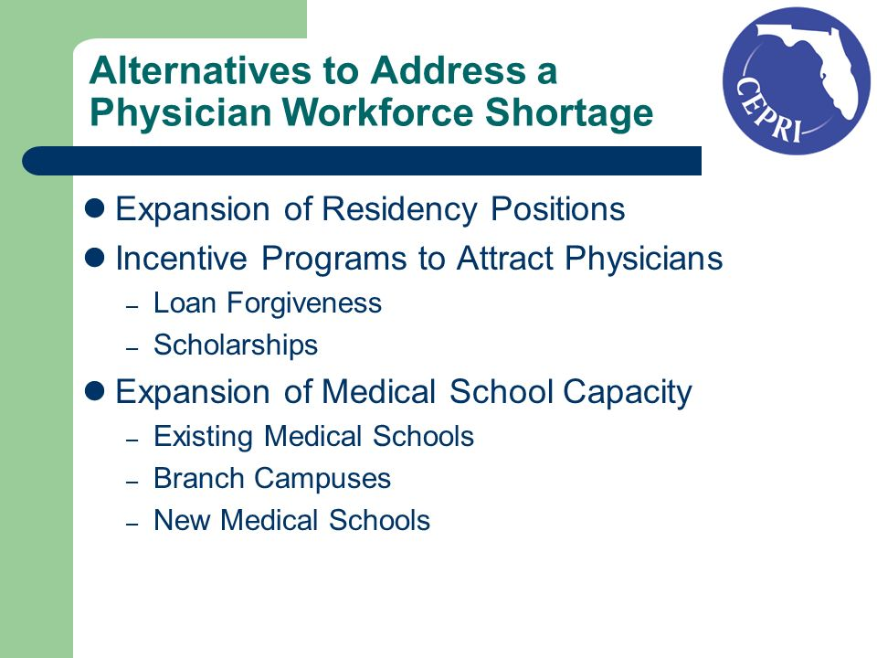Alternatives to Address a Physician Workforce Shortage Expansion of Residency Positions Incentive Programs to Attract Physicians – Loan Forgiveness –