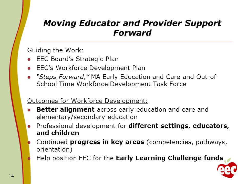 Moving Educator and Provider Support Forward Guiding the Work: EEC Boards Strategic Plan EECs Workforce Development Plan Steps Forward, MA Early Educa