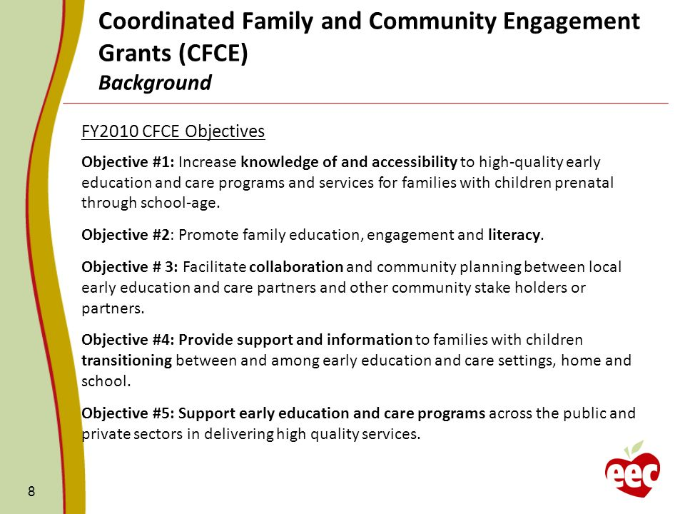 Alignment with EECs Strategic Plan The goals and priorities of the CFCE grant directly align with ten of the twelve Indicators of Success under the Family Support, Access and Affordability section of the EEC Strategic Plan.