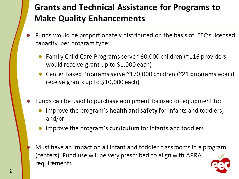 9 Funds would be proportionately distributed on the basis of EECs licensed capacity per program type: Family Child Care Programs serve ~60,000 childre