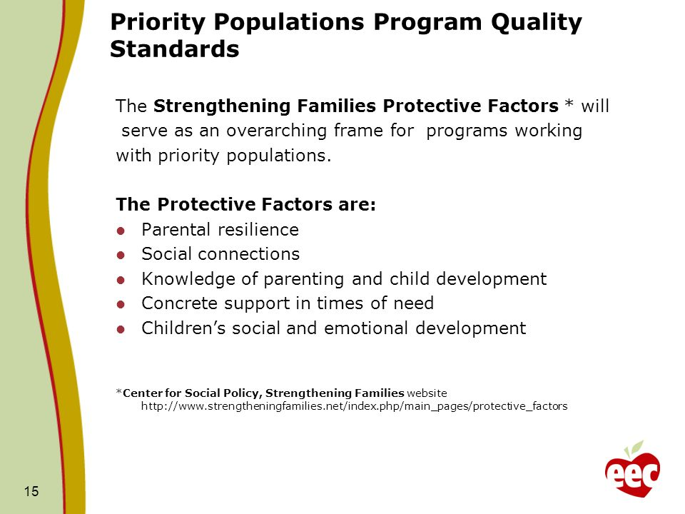 Priority Populations Program Quality Standards The Strengthening Families Protective Factors * will serve as an overarching frame for programs working with priority populations.