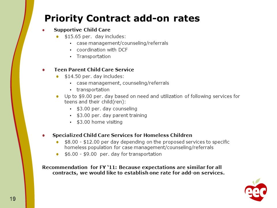 Priority Contract add-on rates Supportive Child Care $15.65 per.