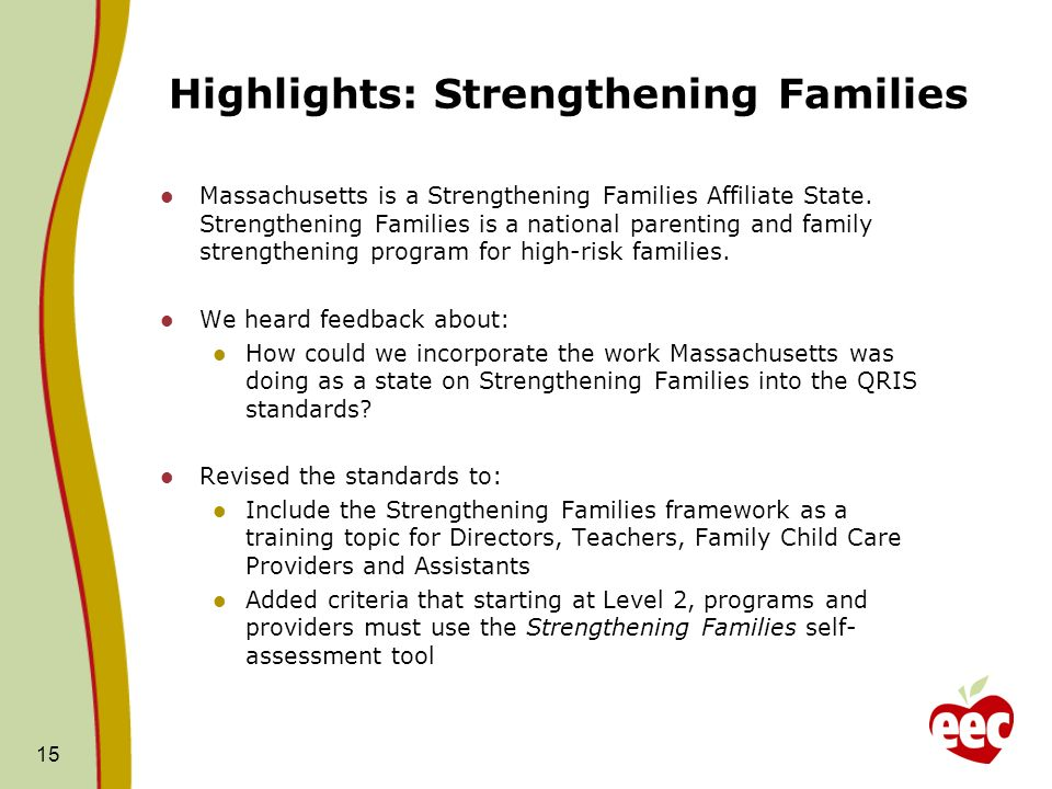 Highlights: Strengthening Families Massachusetts is a Strengthening Families Affiliate State.