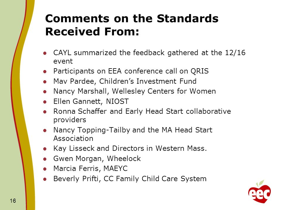 Comments on the Standards Received From: CAYL summarized the feedback gathered at the 12/16 event Participants on EEA conference call on QRIS Mav Pardee, Childrens Investment Fund Nancy Marshall, Wellesley Centers for Women Ellen Gannett, NIOST Ronna Schaffer and Early Head Start collaborative providers Nancy Topping-Tailby and the MA Head Start Association Kay Lisseck and Directors in Western Mass.