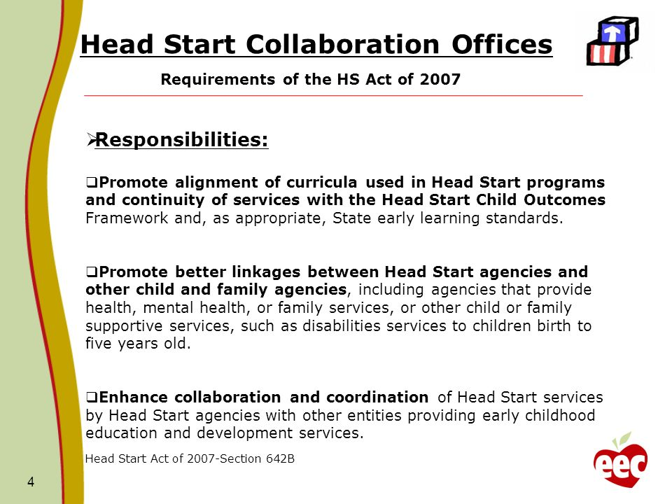 Head Start Collaboration Offices Requirements of the HS Act of 2007 4 Responsibilities: Promote alignment of curricula used in Head Start programs and