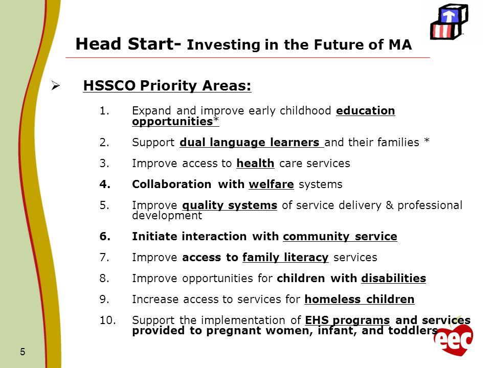 5 Head Start- Investing in the Future of MA HSSCO Priority Areas: 1.Expand and improve early childhood education opportunities* 2.Support dual languag