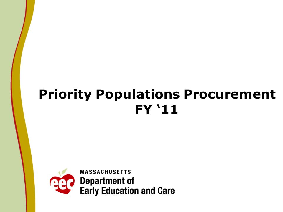 Priority Populations Procurement FY 11