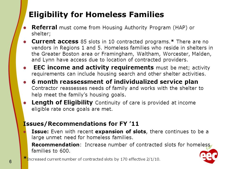 Eligibility for Homeless Families Referral must come from Housing Authority Program (HAP) or shelter; Current access 85 slots in 10 contracted programs.* There are no vendors in Regions 1 and 5.