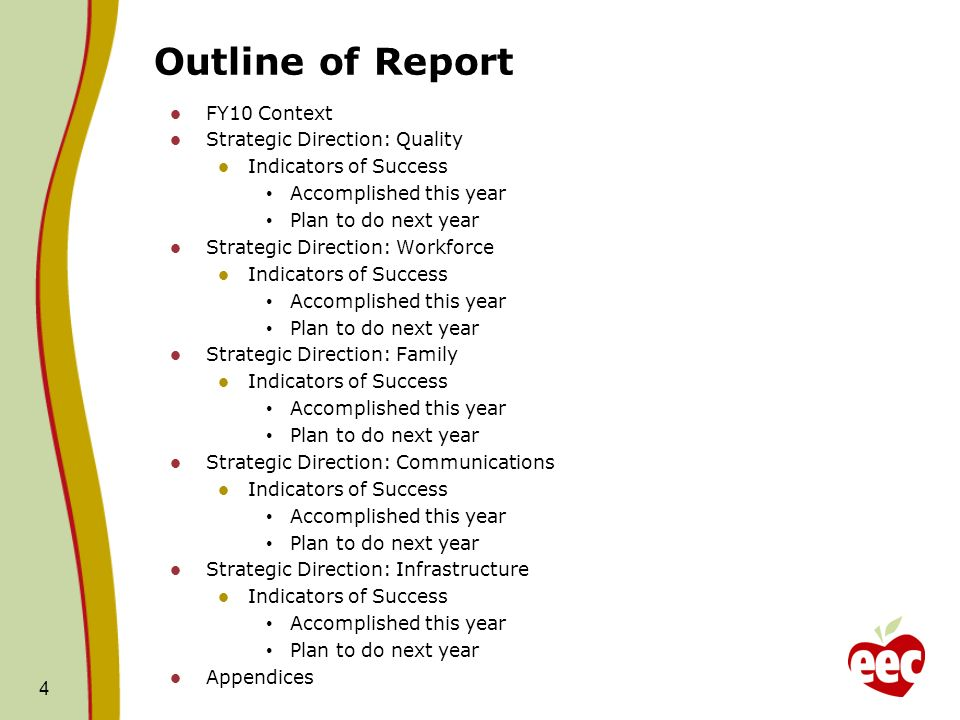 Outline of Report FY10 Context Strategic Direction: Quality Indicators of Success Accomplished this year Plan to do next year Strategic Direction: Workforce Indicators of Success Accomplished this year Plan to do next year Strategic Direction: Family Indicators of Success Accomplished this year Plan to do next year Strategic Direction: Communications Indicators of Success Accomplished this year Plan to do next year Strategic Direction: Infrastructure Indicators of Success Accomplished this year Plan to do next year Appendices 4
